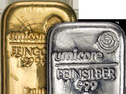 Goud en zilver baren
